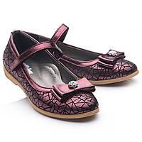 Детские школьные туфли для девочки,кожаные.Турция. Theo Leo RN764 р.28-38.Черно-фиолетовые