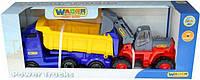 Автомобиль-самосвал Polesie с полуприцепом + трактор-погрузчик Wader Volvo (36872)