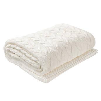 Плед вязаный Ohaina косы 190х160 Warm White