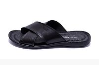 Мужские кожаные летние шлепанцы-сланцы VanKristi черные, фото 1