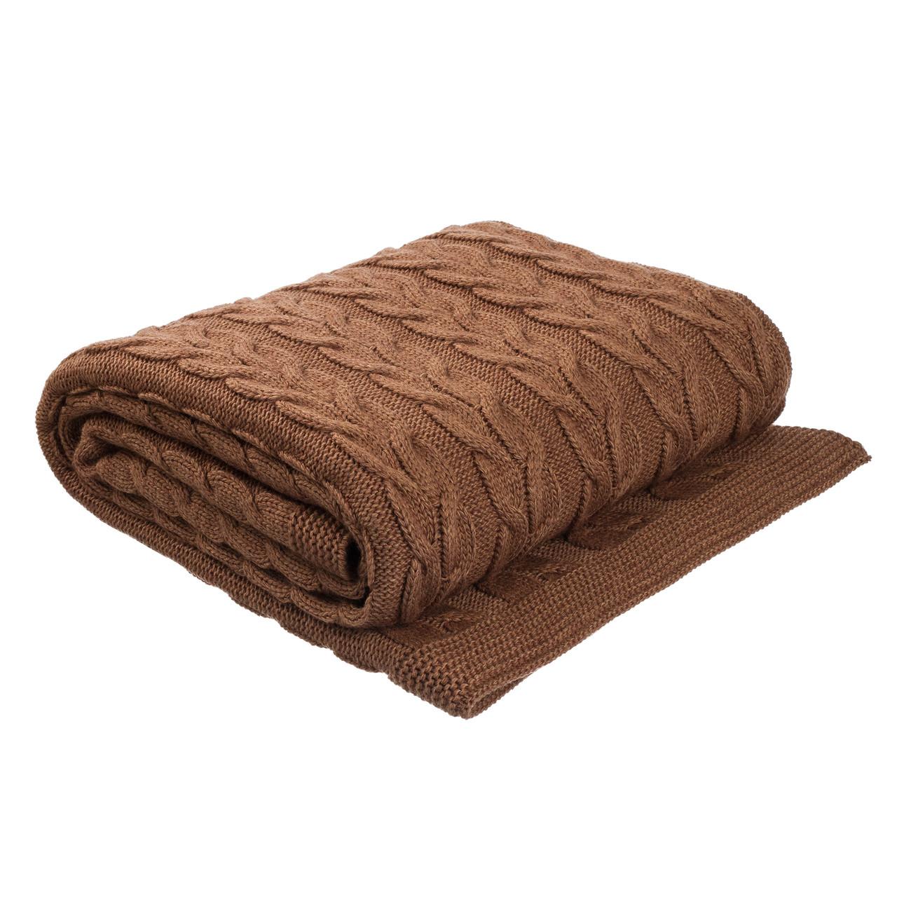 Плед вязаный Ohaina косы 190х160 Chocolate Brown