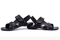 Мужские кожаные сандалии CARDIO black черные, фото 1
