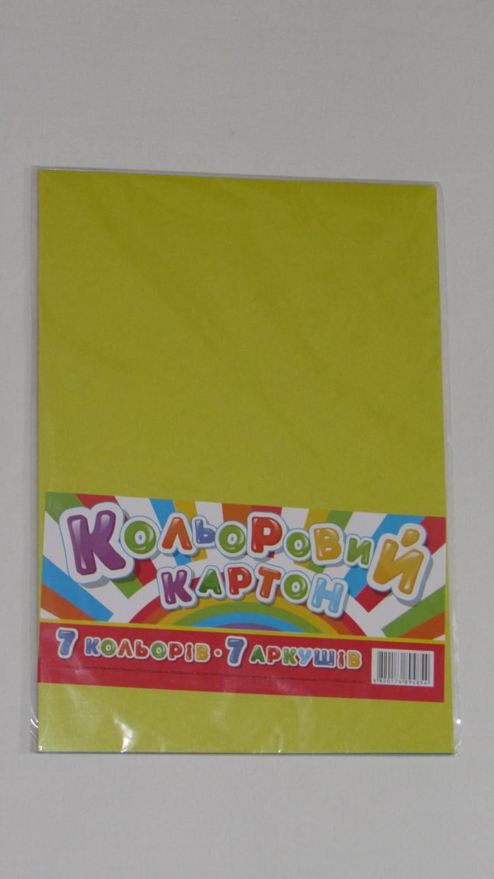 Набір кольорового картону А4 7 листів 7 кольорів