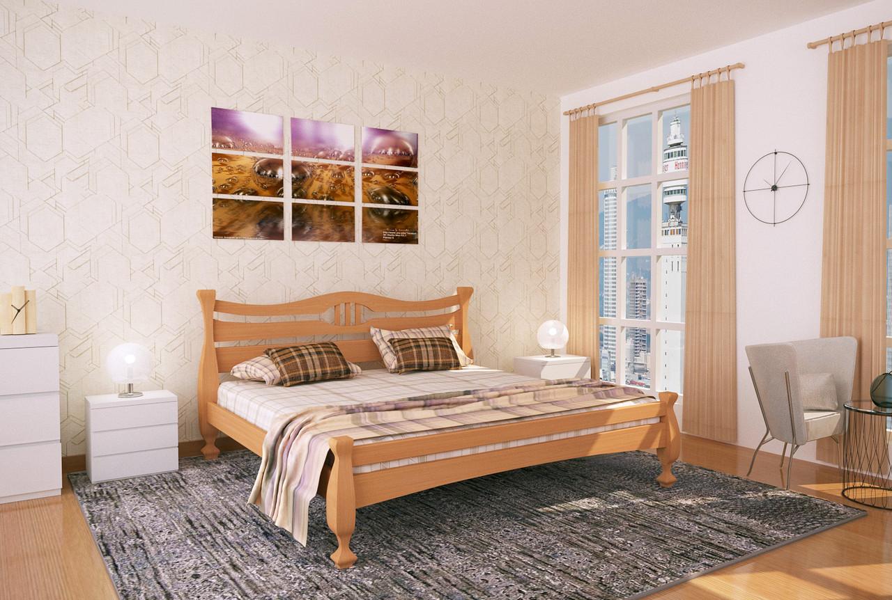 Двуспальная Кровать из дерева сосна 160*200 Кронос MECANO цвет Светлый орех 14MKR016