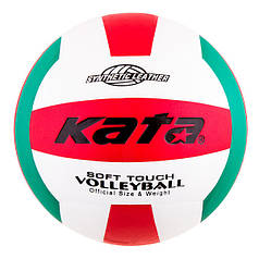 Мяч волейбольный Kata PU, бело-красный-зеленый, стандарт