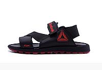 Мужские кожаные сандалии Reebok Track black черные, фото 1