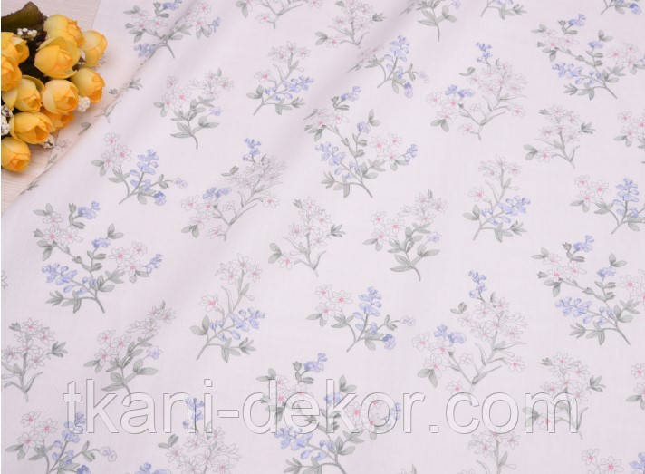 Сатин (хлопковая ткань) цветущая веточка на молочном