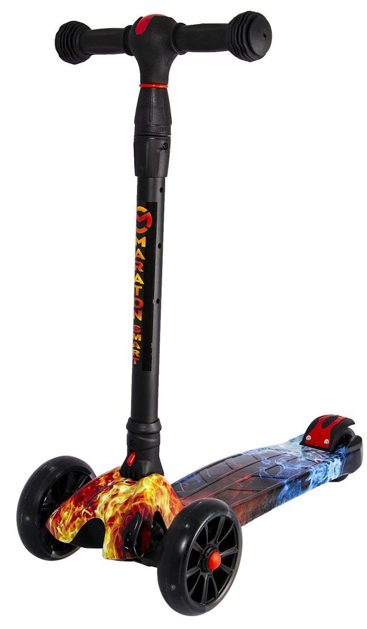 Детский Самокат scooter smart - самокат со светящимися колесами SMART Print Огонь и лед