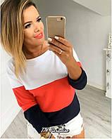 Женская летняя  свободная кофта реглан свитшот трехцветная двухнить 42-44 (до 46) черный белый красный