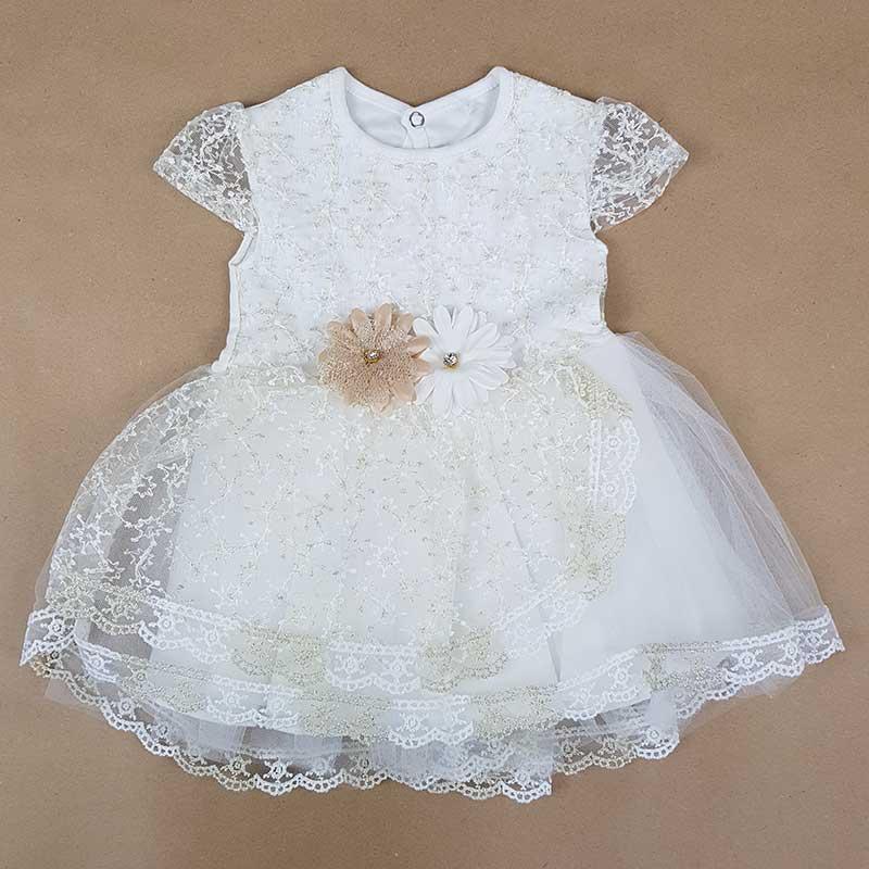 Платье для девочки с цветочной вышивкой р.68-80 (6-12м.) арт.1308