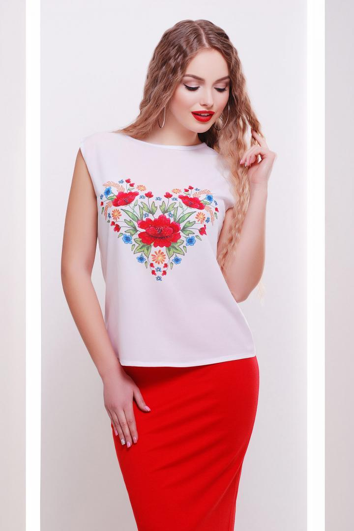 Цветы-сердце футболка Киви б/р принт p34630 #O/V