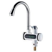 Кран-водонагрівач проточний JZ 3.0 кВт 0,4-5бар для кухні гусак вухо на гайці AQUATICA (JZ-6B141W)