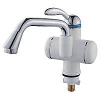 Кран-водонагрівач проточний LZ 3.0 кВт 0,4-5бар для раковини гусак довгий вигнутий на гайці AQUATICA