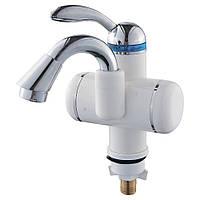 Кран-водонагрівач проточний LZ 3.0 кВт 0,4-5бар для раковини гусак вигнутий на гайці AQUATICA (LZ-5A111W)