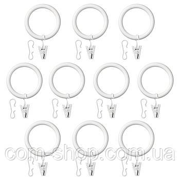 Гардин кольцо с зажимом и крючком IKEA, крючки карнизные, кольца для карнизов, 38 мм, белый