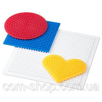 Плато для мозаики IKEA, детская термомозаика, набор для творчества, 4 штуки, разные цвета