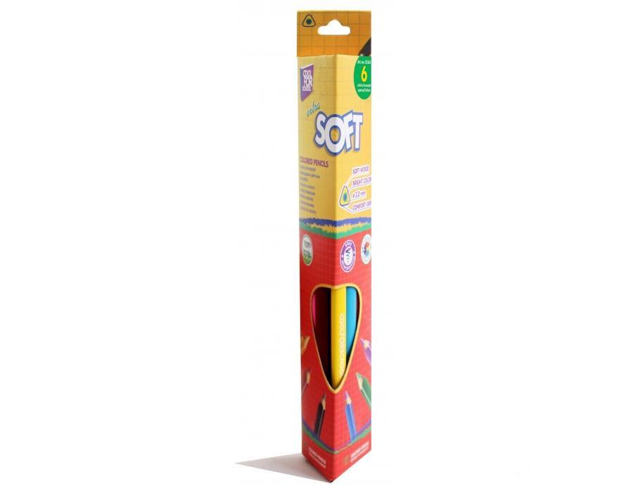Карандаши цветные CFS Extra Soft CF15142, 6 цветов, треугольные