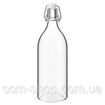 Бутылка стеклянная IKEA с пробкой, емкость для напитков, прозрачное стекло, 1 л