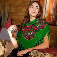 Українська хустка (100х100 см, зелена)