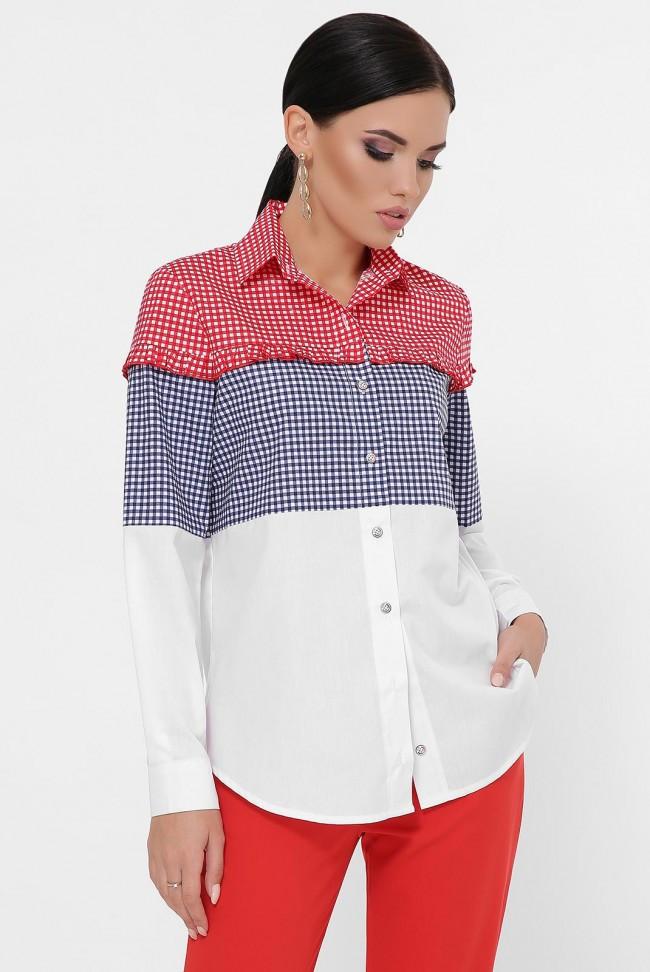 Женская трехцветная рубашка в мелкую клетку с небольшими рюшами на груди Carmen RB-1787A