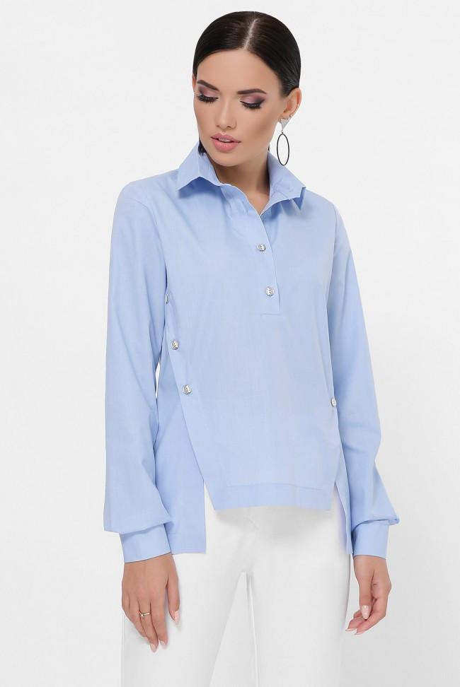 Голубая асимметричная рубашка прямого кроя с рабочими застежками по бокам Olga RB-1785A