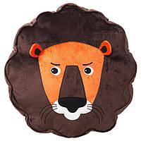 Подушка лев IKEA для детей, декоративная, коричневый
