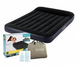 Матрас надувной велюровый Intex со встроенным электронасосом, 137х191х25 см, черный