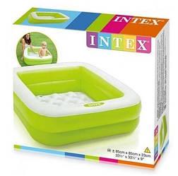 Детский квадратный надувной бассейн Intex, 85 х 85 х 23 см, зелёный