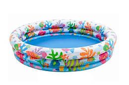 Детский круглый бассейн надувнойс мячом и кругом «Аквариум»Intex,132 х 28 см