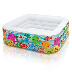 """Детский надувной бассейн квадратный развлекательный""""Аквариум""""Intex, 159 х 159 х 50 см"""