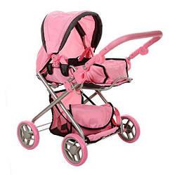 Детская коляска-трансформер для кукол с регулируемой ручкой MELOGО розовая