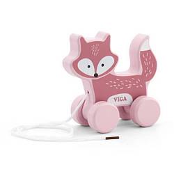 """Детская деревянная игрушка-каталка для прогулки """"Лиса"""" Viga Toys PolarB, 15 х 15 х 6см"""