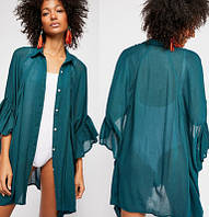 Туника-рубашка женская пляжная, шифоновая, бирюзовая, фото 1