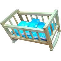 Детская деревянная кровать Винни Пух для пупса с постелью