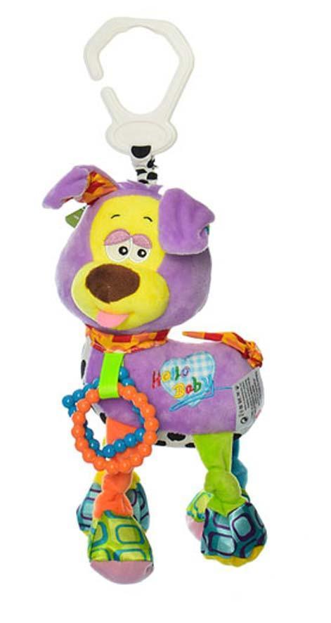 """Детская плюшевая игрушка-подвеска для коляски и кроватки Metr+ """"Cобачка"""", 38 см., фиолетовая"""