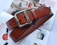Женский кожаный ремень Dior рыжий пряжка серебро