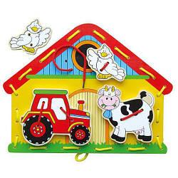 """Шнуровка из дерева для ребенка игрушка Viga Toys """"Ферма"""""""