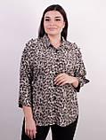 Магда. Стильная женская рубашка больших размеров. Леопард серый., фото 2