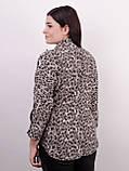 Магда. Стильная женская рубашка больших размеров. Леопард серый., фото 4