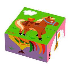 """Пазл-кубики детская игрушка деревянная Viga Toys """"Ферма"""", 4 детали"""