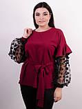 Карина. Женская блуза с рюшами больших размеров. Бордо., фото 2