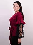 Карина. Женская блуза с рюшами больших размеров. Бордо., фото 3