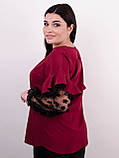 Карина. Женская блуза с рюшами больших размеров. Бордо., фото 4