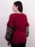 Карина. Женская блуза с рюшами больших размеров. Бордо., фото 5