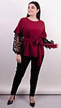 Карина. Женская блуза с рюшами больших размеров. Бордо., фото 6