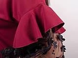Карина. Женская блуза с рюшами больших размеров. Бордо., фото 8