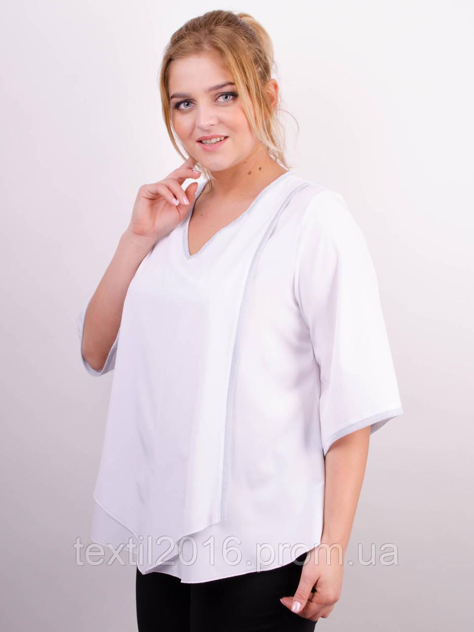 Марина. Белая женская блуза больших размеров.