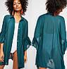 Туника-рубашка женская пляжная, шифоновая, бирюзовая, опт