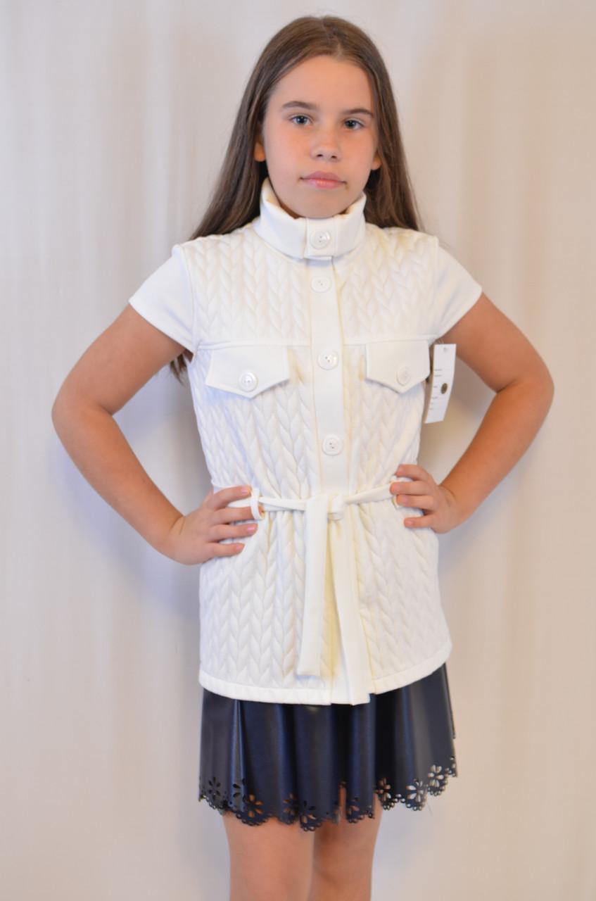 Красивая нарядная трикотажная белая кофта-жилетка для девочки дешево.
