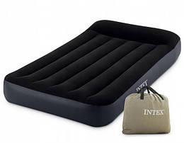 Надувной одноместный велюровый матрас Intex с подголовником, 191х99х25 см, черный